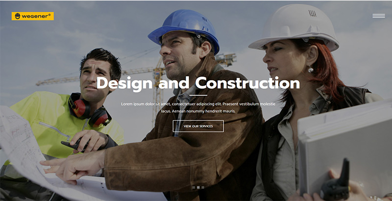 Wegener themes wordpress creer site web entreprise construction architecture