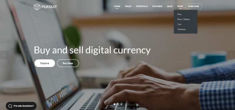 Poursuit theme wordpress creer site web crypto monnaies