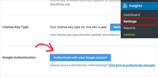 Se connecter avec un compte google