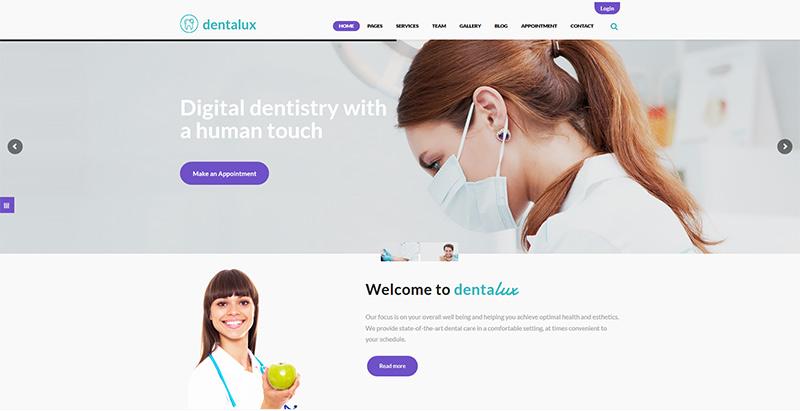Dentalux themes wordpress creer site web hopital clinique dispensaire