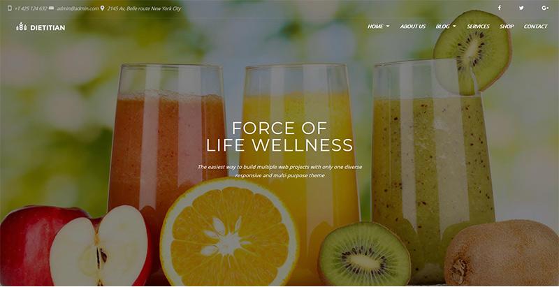 Dietitian themes wordpress creer site internet nutritionniste dieteticien