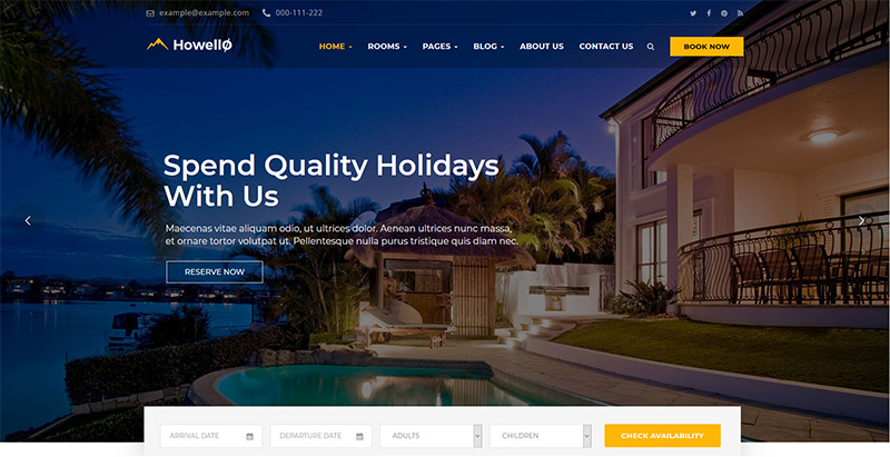 Howello themes wordpress premium creer site web hotel motel