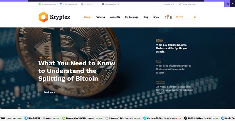 Kryptex themes wordpress creer site internet entreprise crypto monnaies devises