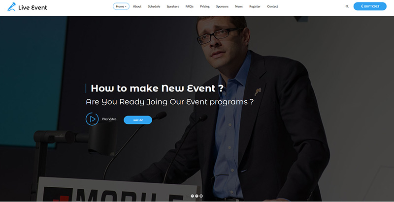 Live event themes wordpress creer un site internet keynote evenements conférence
