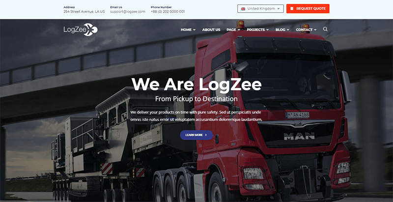Logzee theme wordpress creer site web entreprise transport logistique
