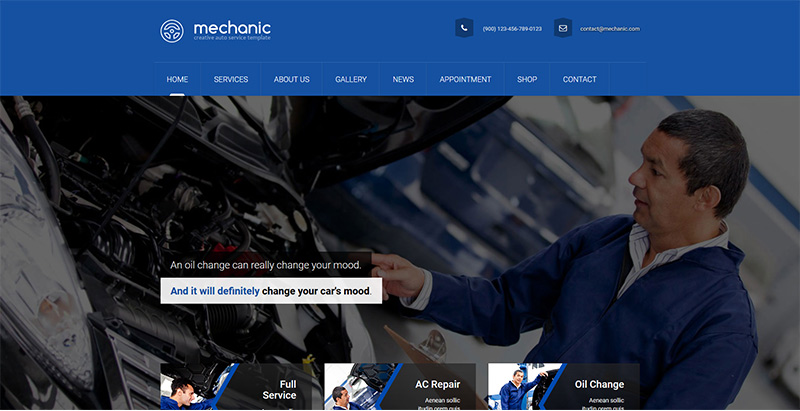 Mechanic themes wordpress creer site web vente achat voitures