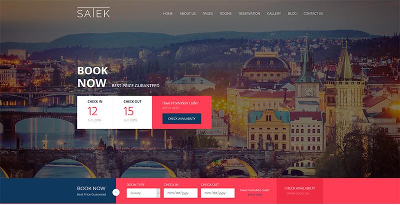 Темы wordpress премиум-класса Satek создать веб-сайт отеля-мотеля