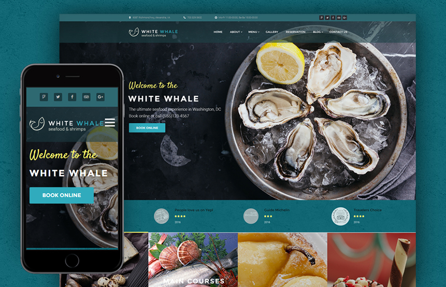 Paus Putih - Tema WordPress Seafood Restaurant