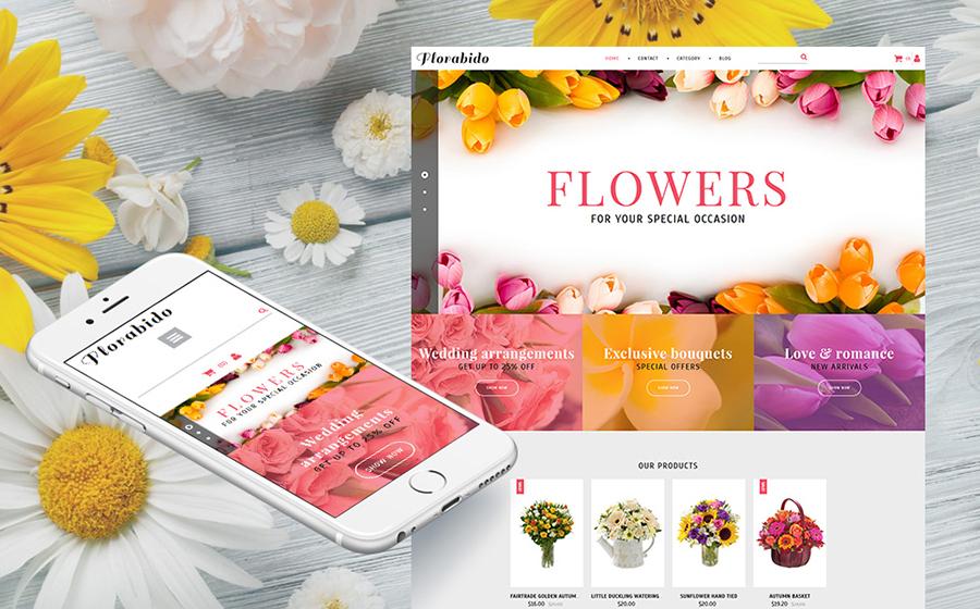 Bouquets et arrangements floraux - modèle MotoCMS Ecommerce