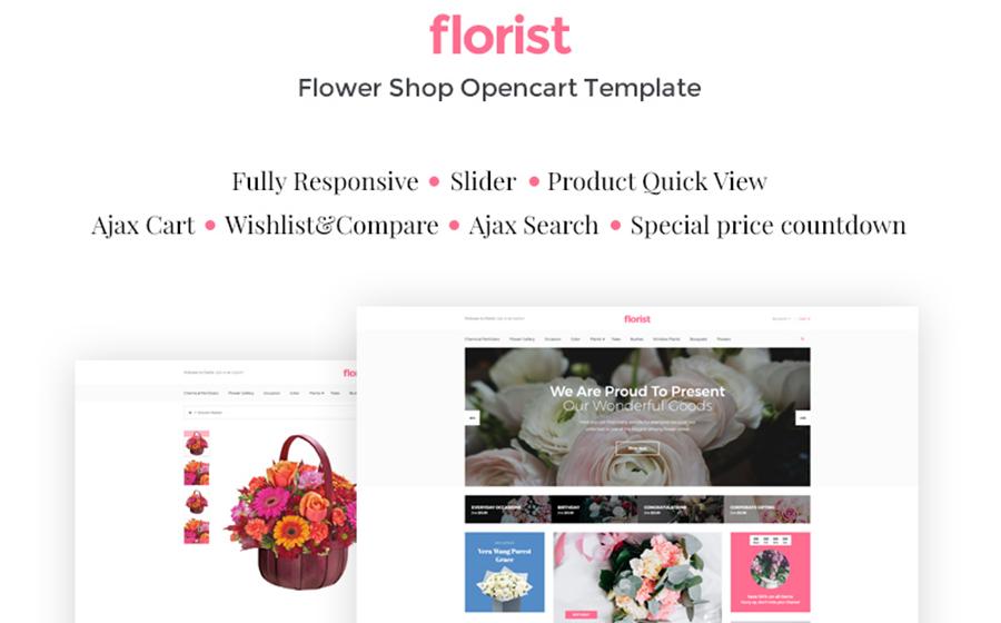 Modèle Open Cart pour magasin de fleurs