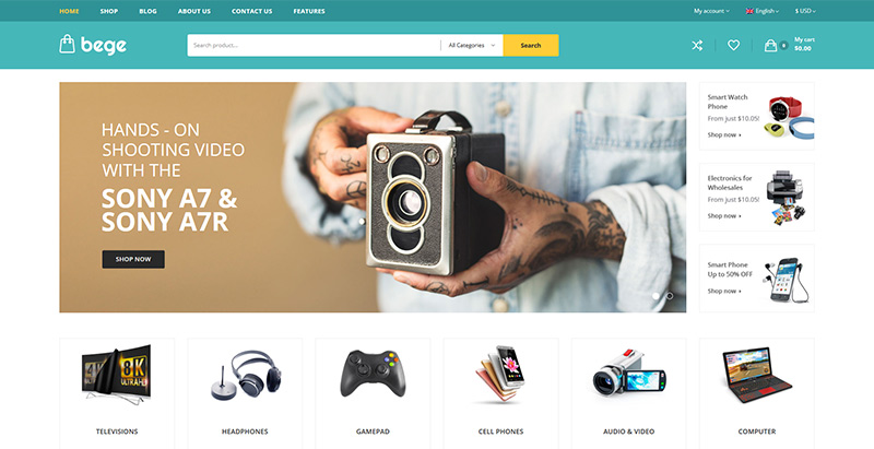 Bege themes wordpress creer site internet ecommerce boutique en ligne