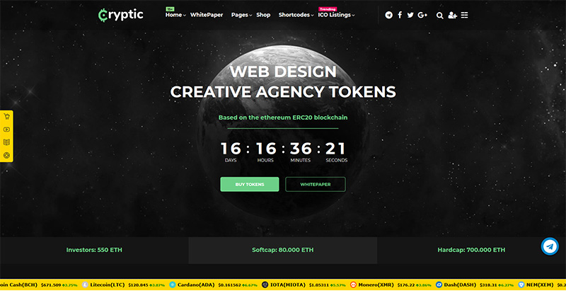 Cryptic themes wordpress creer site web entreprise cryptomonnaies