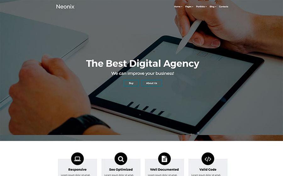 Neonix - Tema WordPress elegante e minimalista per l'agenzia digitale ad alta risoluzione