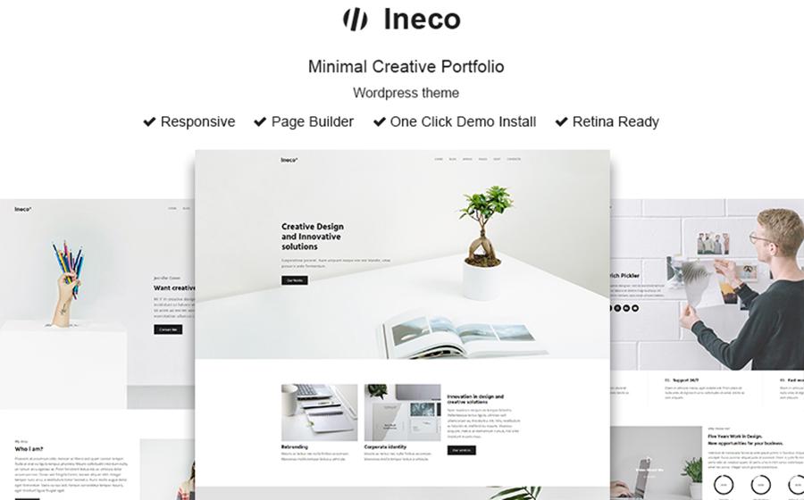 Ineco: tema WordPress morbido, minimalista e creativo per il portafoglio online