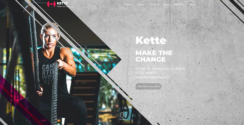 Kette themes wordpress creer site web club gym fitness yoga
