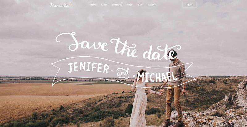 Moments themes wordpress creer site web ceremonie mariage evenement
