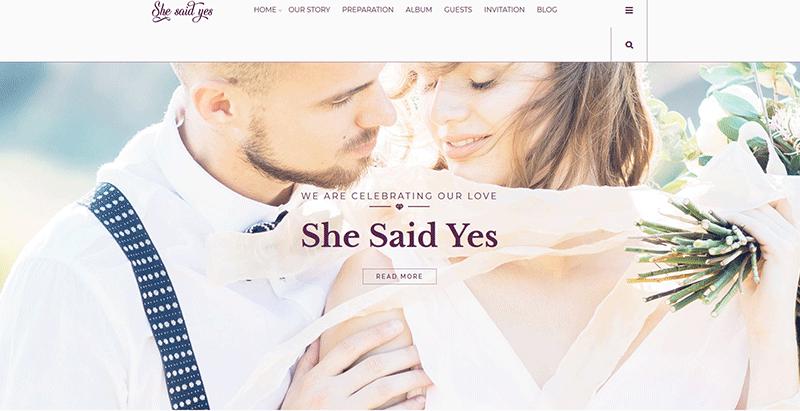 thèmes WordPress pour créer un site web de mariage - Shesaidyes