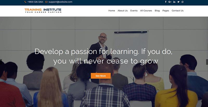Training institute themes wordpress creer site web ecoles de formation