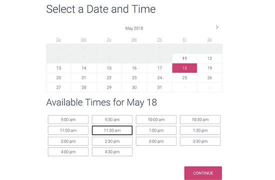 para exibir vários serviços com um calendário StartBoooking.png