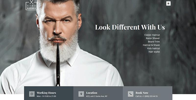 Xtra themes wordpress creer site web salon coiffure barber hairbarber