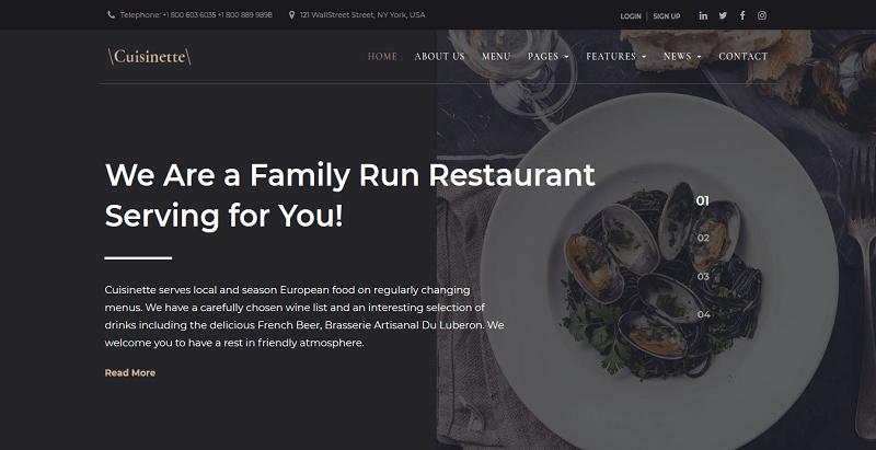 Cuisinette - meilleurs thèmes WordPress de restaurant