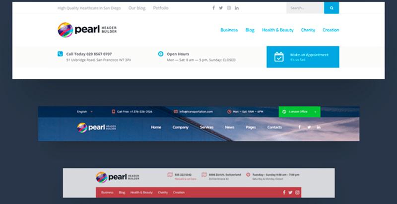 Pearl header builder wp plugin