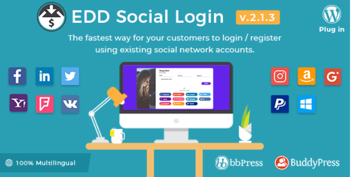 Social login plugins easy digital downloads boutique ligne telechargements numerique