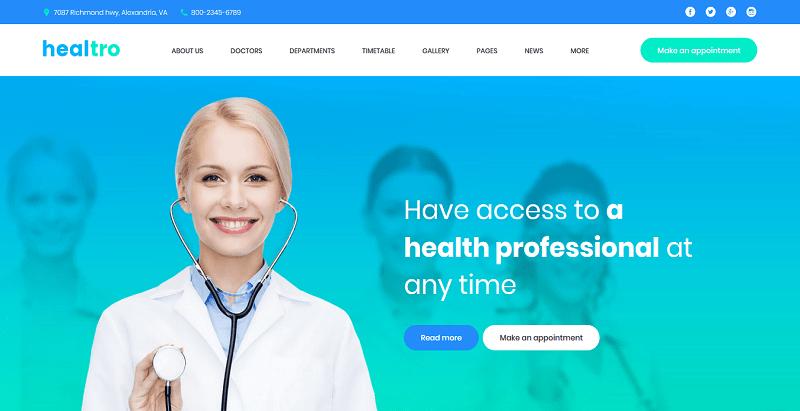 Healtro themes wordpress creer site web hopital clinique dispensaire