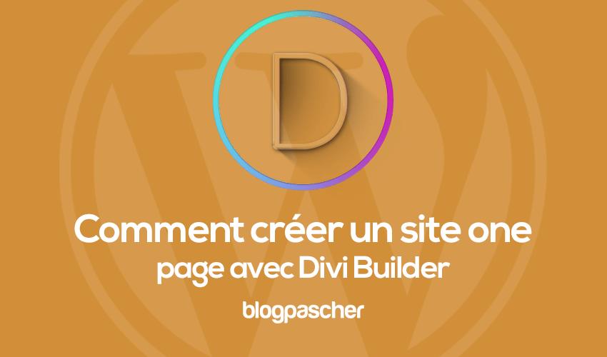 Comment créer un site one page avec divi builder