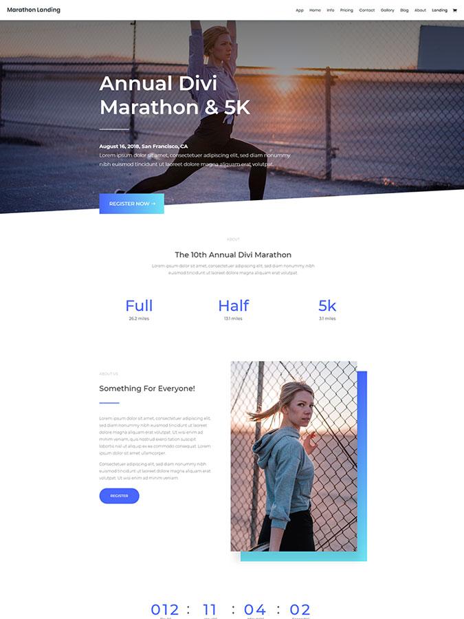 Divi wordpress theme layouts créer site web blog marathon sport athlétisme
