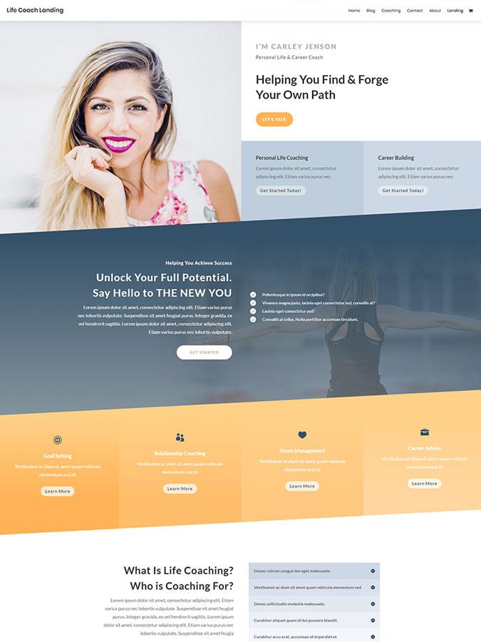 Divi wordpress theme layouts créer site web life coach vendre coaching prestation