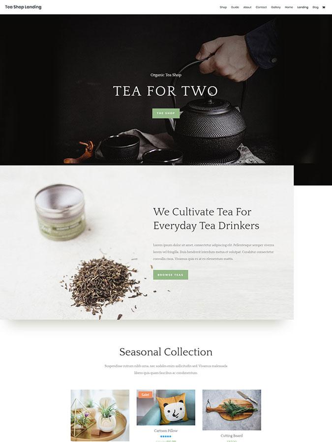 Divi wordpress theme layouts create tea shopt website blog