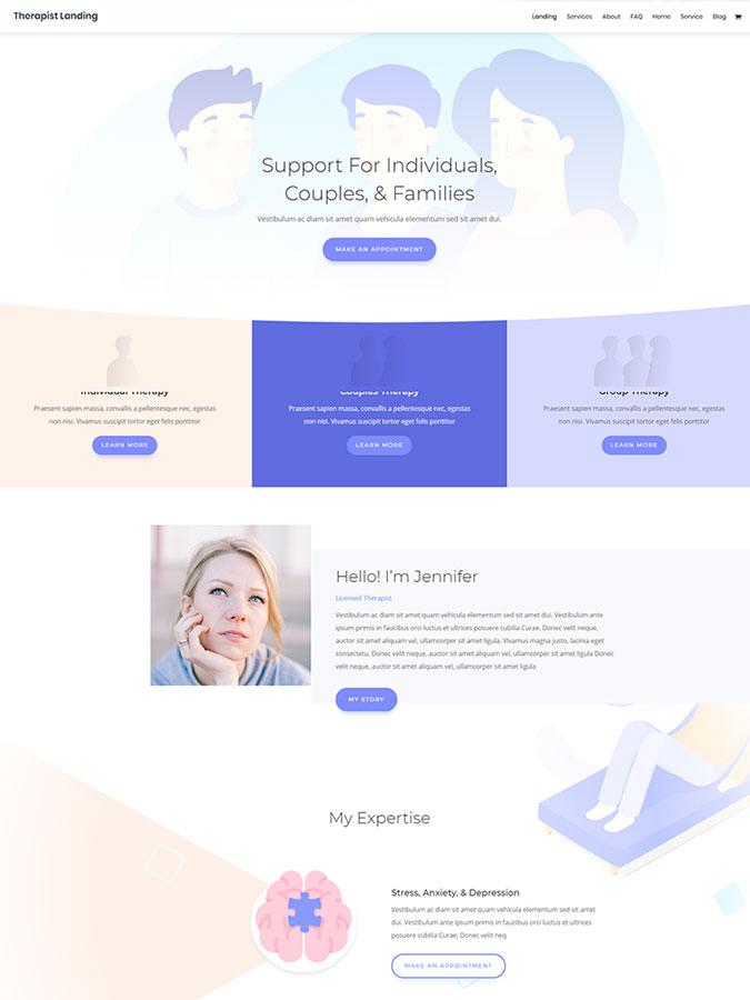 Divi wordpress theme layouts create terapist website blog