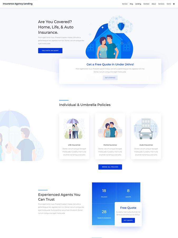 Template layout divi créer site web compagnie assurance