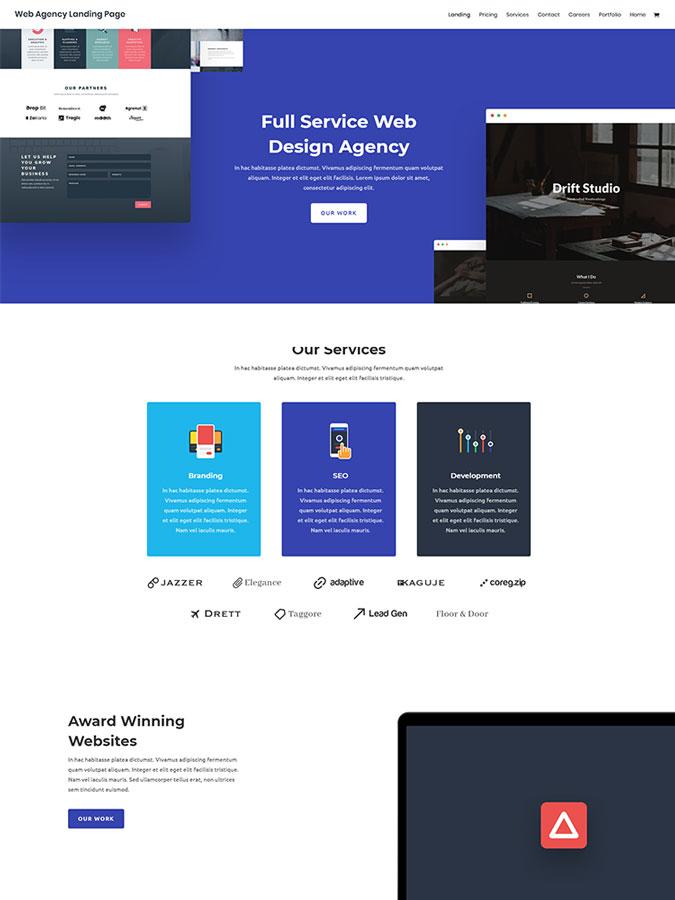 Template layout divi thème wordpress agence web créer site internet