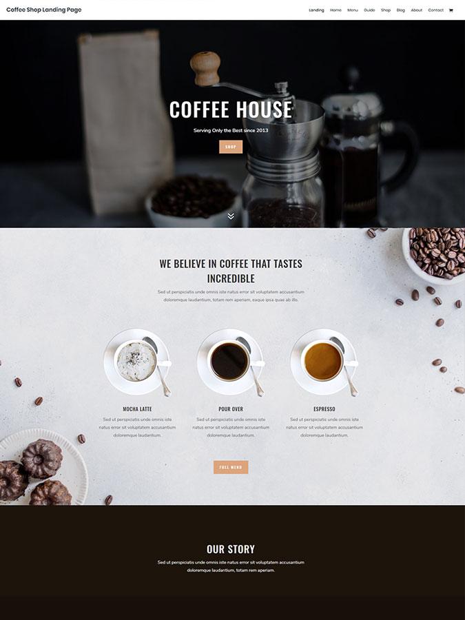 Thème wordpress divi coffee shop café bistrot créer site web layout template