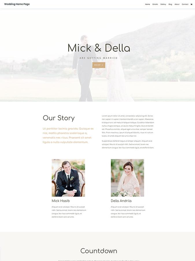 Thème wordpress divi créer site internet mariage cérémonie souvenir templates