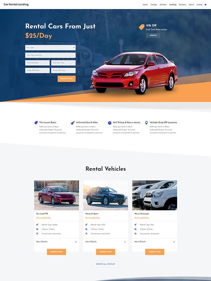 Thème wordpress divi site web vendre louer acheter voiture auto moto location template