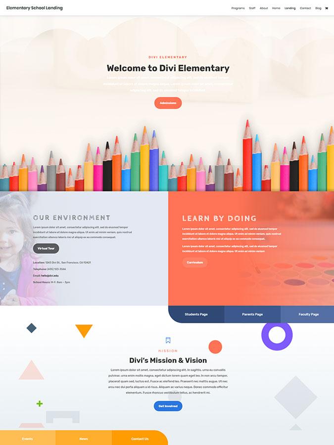 Thème wordpress template divi créer site web scolaire école lycée lms elearning