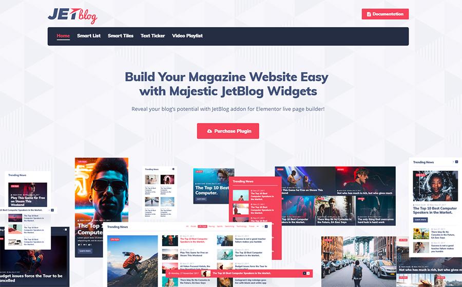JetBlog - Pacote de Blogging para o Construtor Elementor WordPress Plugin Page