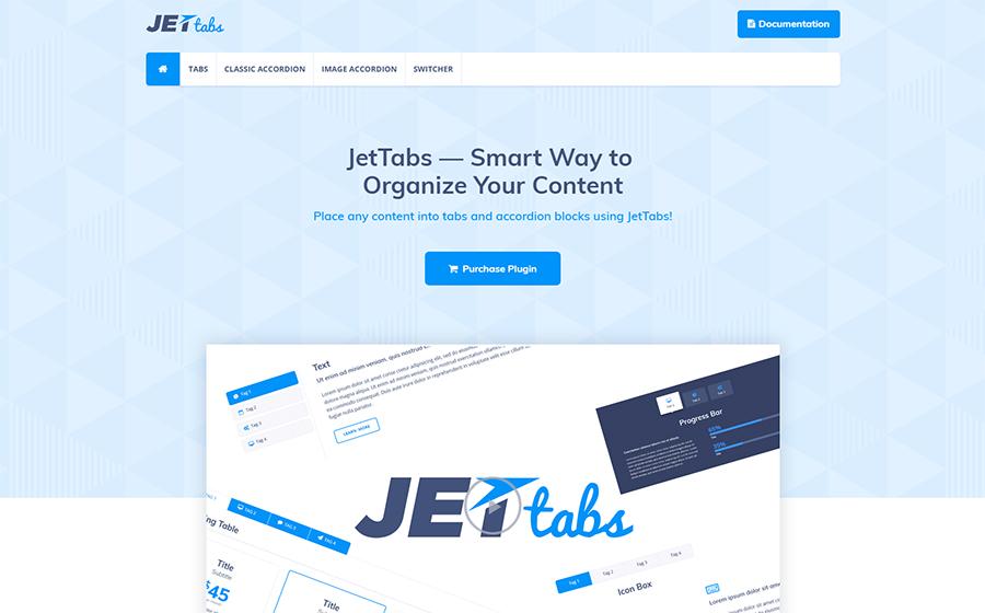 JetTabs - abas e acordeões para o construtor da página do encaixe de WordPress