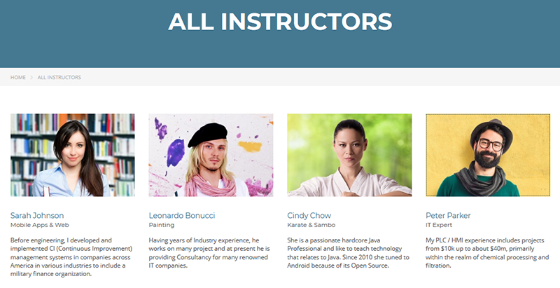 Masterstudy theme wordpress e learning about teachers