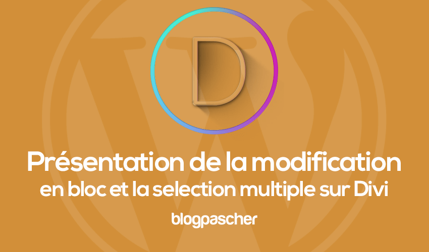 Présentation de la modificaiton en blog et de la selection multiple divi
