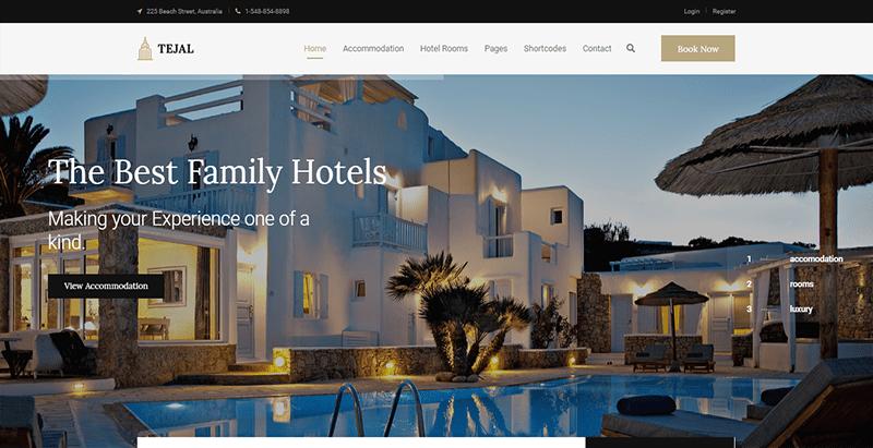Tejal theme wordpress creer site web hotel