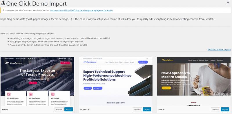 One Click Demo Import   BlogPasCher