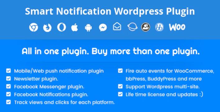 Smart notification wordpress plugin. web mobile push fb messenger fb notifications newsletter. plugin wordpress