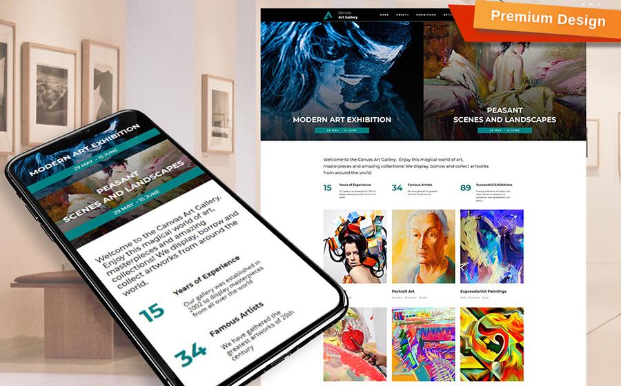 Canvas - Modèle Moto CMS 3 pour Galerie d'art créative