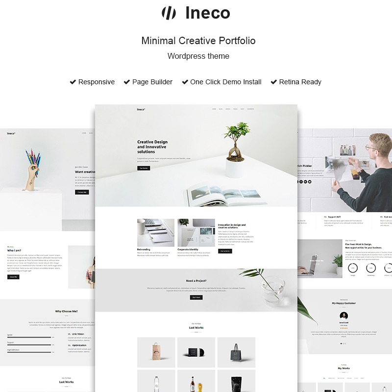 Ineco - tema de WordPress para portafolio creativo minimalista