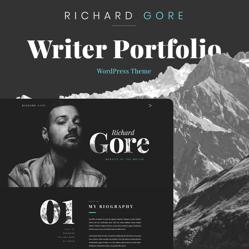 Richard Gore - Tema de WordPress de Elementor para la cartera de escritores