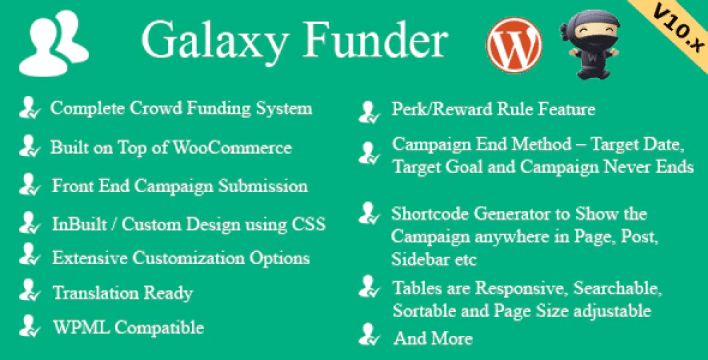 meilleurs plugins WordPress de financement participatif - Galaxy funder woocommerce crowdfunding system plugin wordpress
